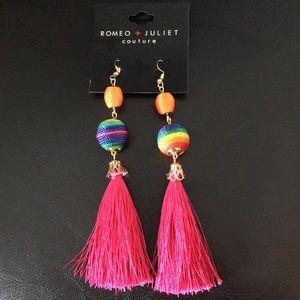 Romeo & Juliet OrangeRainbow & pink tassels earrin